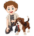 a boy and dog vector image