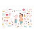 After shower bathroom stickers set Dodo People vector image