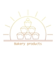 bakery product mono line logo with cupcakes vector image