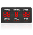 baseball sports digital scoreboard vector image vector image