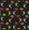 black floral seamless pattern with aster flowers vector image vector image
