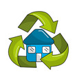 blue house inside of recycling symbol vector image