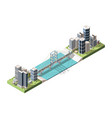 bridge connecting two city parts isometric vector image vector image