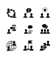 business cooperation black icons on white vector image vector image