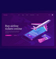 buy airline ticket online isometric landing page