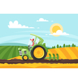 Cartoon style of farmer working in farmed land vector image