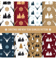 christmas and new year seamless pattern set vector image vector image