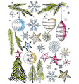 christmas decorative hand draw elemants vector image