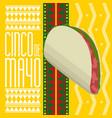 cinco de mayo poster with a taco vector image