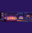 city street with houses and tram at night vector image