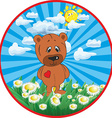 Cute cartoon bear card design vector image vector image