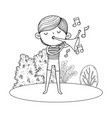 cute little boy playing trumpet in the landscape vector image