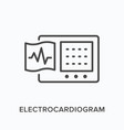 ecg flat line icon outline of vector image