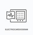 ecg flat line icon outline vector image