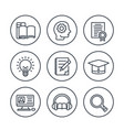 education learning line icons in circles on white vector image vector image
