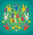 feliz pascua happy easter in spanish greeting card vector image vector image
