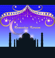 festive greeting card for ramadan with temple and vector image