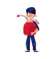 flat young mechanic boy with oil canister vector image vector image