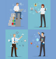four banners with busy people vector image