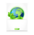 Green earth with leaves and ladybugs paper with vector image vector image
