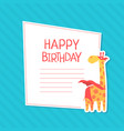happy birthday invitation card template with cute vector image vector image
