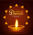 happy diwali greeting card design with lit oil vector image vector image