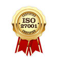 ISO 27001 standard certified rosette - Information vector image vector image