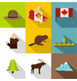 landmarks of canada icon set flat style vector image vector image