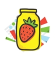 Mason jar and strawberry isolated vector image