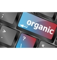 organic word on green keyboard button vector image vector image