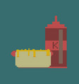 pixel icon in flat style hotdog and ketchup vector image vector image