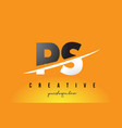 ps p s letter modern logo design with yellow vector image vector image