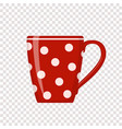 red polka dot cup on transparent background vector image vector image