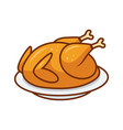 roasted bird on a platter vector image vector image