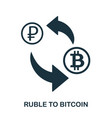 ruble to bitcoin icon mobile app printing web vector image vector image