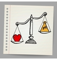 Scales with heart and money vector image vector image