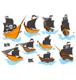 set various types stylized cartoon pirate ships vector image vector image