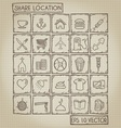 Shared Location Icon Doodle Set vector image vector image