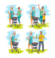 sketch family at bbq party scenes set vector image