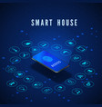 smart house banner smartphone with fingerprint on vector image vector image