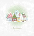 vintage invitation card with winter rural scenery vector image