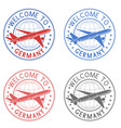 welcome to germany travel stamps set with plane vector image