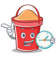 with clock bucket character cartoon style vector image vector image