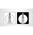 black and white oil rigs vector image