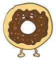 a cute chocolate donut or color vector image