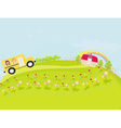 a school bus heading to school with happy children vector image