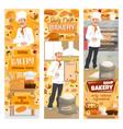 bakery shop baker baking bread menu and desserts vector image vector image