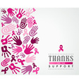 Breast cancer campaign poster pink hand ribbon vector image vector image