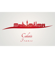 Calais skyline in red vector image vector image
