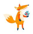 cartoon red fox vector image vector image